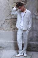 Suit jacket for man, natural heavy linen