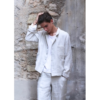 Suit jacket for man, natural heavy linen