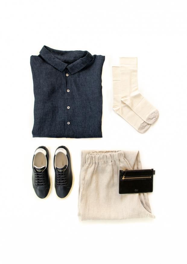 Unisex shirt, indigo linen