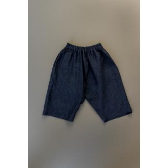 Unisex short, indigo linen