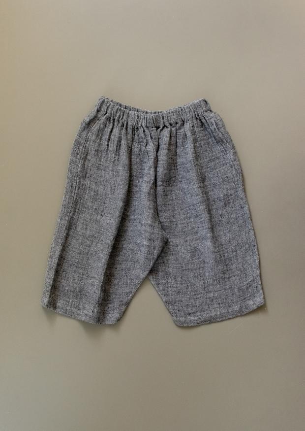 Short mixte pour homme, lin gris