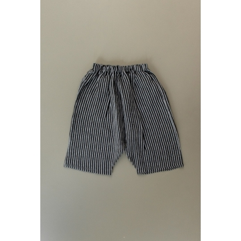 Short mixte pour homme, lin rayures sombres