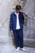 Long trousers, indigo heavy linen