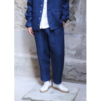 Long trousers, indigo heavy linen