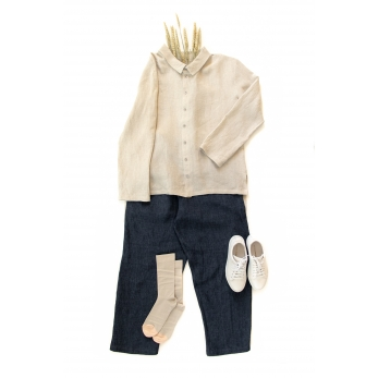 Long trousers, indigo linen