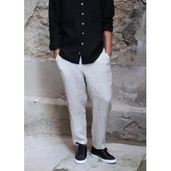 Pantalon à poches pour homme, lin naturel