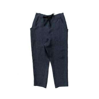 Pockets trousers, indigo linen