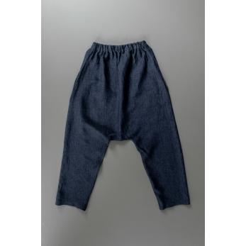 Pantalon sarouel pour homme, lin indigo