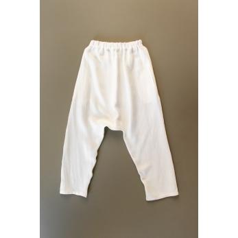 Pantalon sarouel pour homme, lin épais blanc