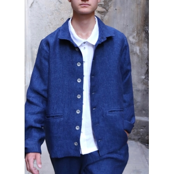 Man jacket, indigo heavy linen