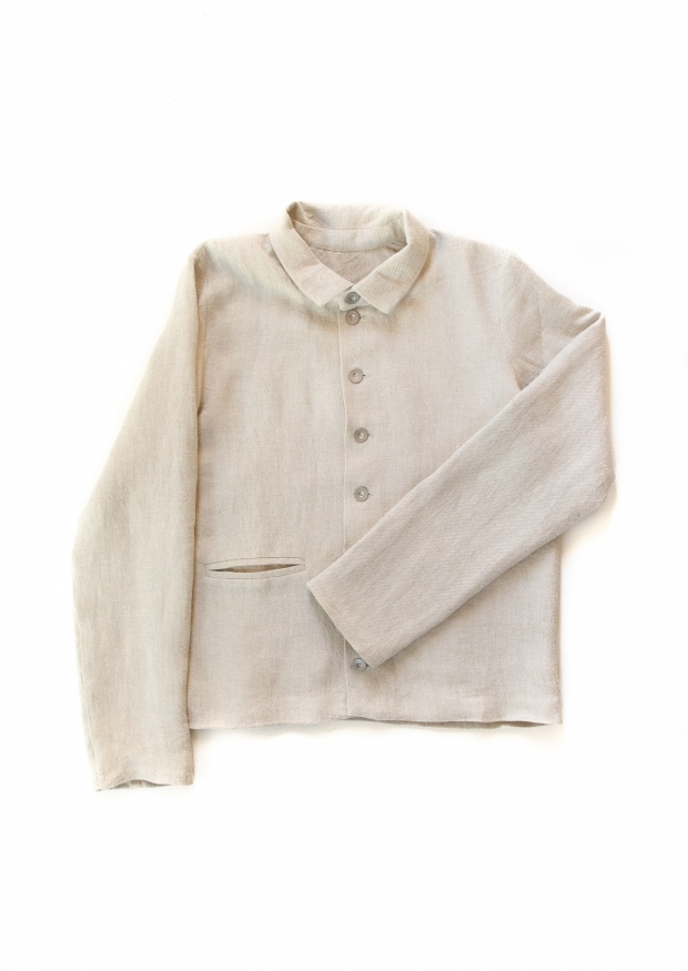 Man jacket, natural heavy linen
