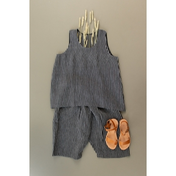 Sleeveless blouse U neck, dark stripes linen
