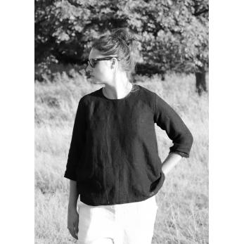 3/4 sleeves blouse round neck, black linen