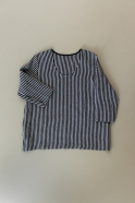 3/4 sleeves blouse U neck, dark stripes linen