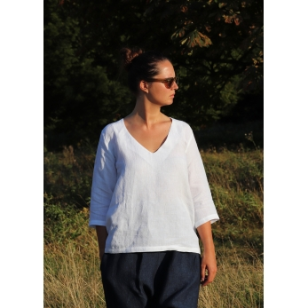 3/4 sleeves blouse V neck, white linen