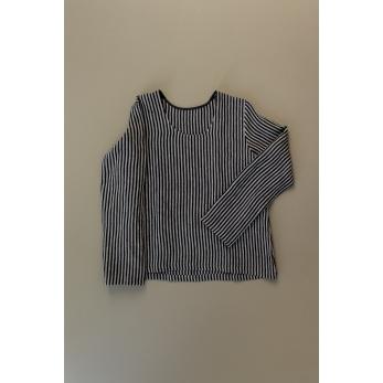 Long sleeves blouse U neck, dark stripes linen