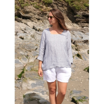 Blouse manches longues col carré, lin rayures claires