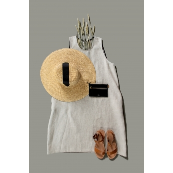 Flared dress, sleeveless, round neck, natural linen