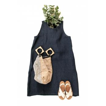 Flared dress, sleeveless, round neck, indigo linen