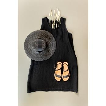 Flared dress, sleeveless, U neck, black linen