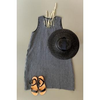 Flared dress, sleeveless, U neck, dark stripes linen