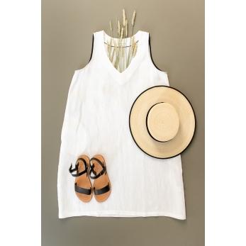 Flared dress, sleeveless, V neck, white linen