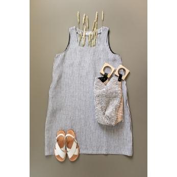 Flared dress, sleeveless, squared neck, light stripes linen