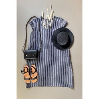 Flared dress, short sleeves, U neck, dark stripes linen