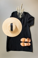 Flared dress, 3/4 sleeves, U neck, black linen