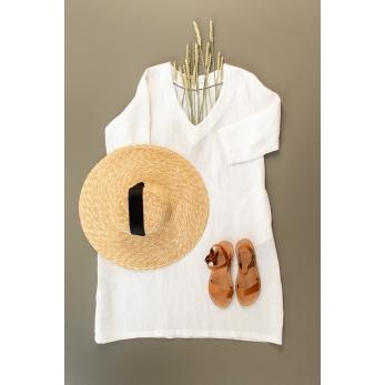 Flared dress, 3/4 sleeves, V neck, white linen