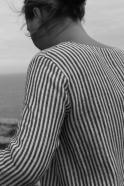 Robe évasée manches 3/4, col carré, lin rayures claires