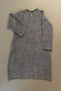 Flared dress, long sleeves, grey linen