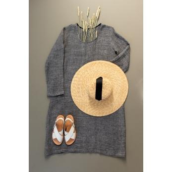 Flared dress, long sleeves, U neck, grey linen
