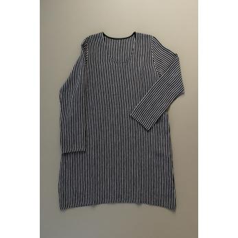 Flared dress, long sleeves, U neck, dark stripes linen