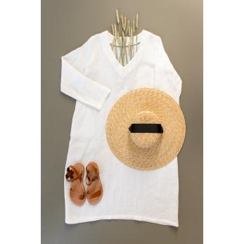 Flared dress, long sleeves, V neck, white linen