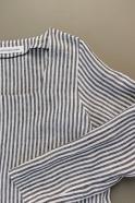 Flared dress, long sleeves, squared neck, light stripes linen