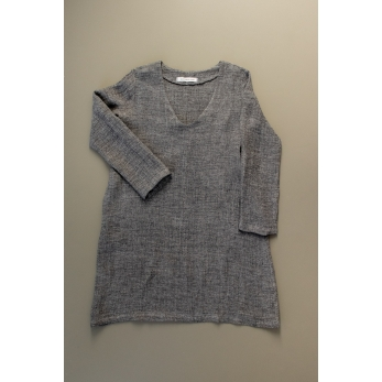 Flared dress, long sleeves, V neck, grey linen