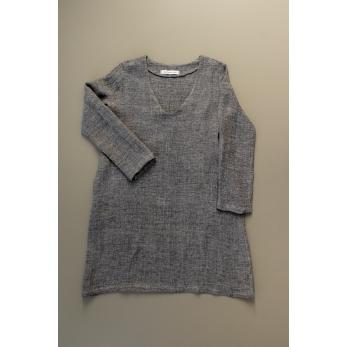 Flared dress, long sleeves, V neck, grey linen