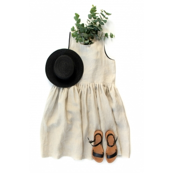 Pleated dress, sleeveless, natural linen