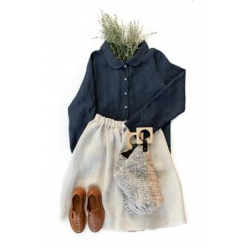 Long sleeves shirt, indigo linen