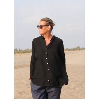 "Shirt ""woman"", black linen"