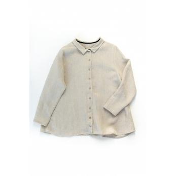 Pleated shirt, natural linen