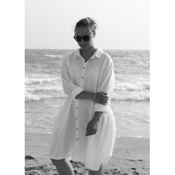 Uniform shirt-dress long sleeves, white linen