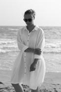 Uniform shirt-dress long sleeves, white linen