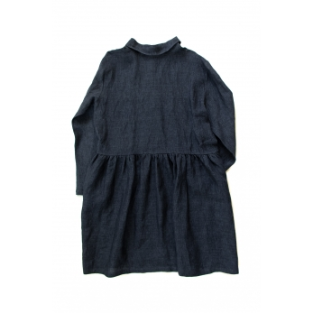 Shirt-dress, indigo linen