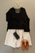 Flared sweater, black cotton knit
