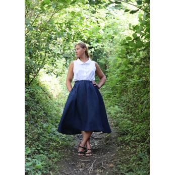 Long skirt, indigo linen