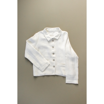 Woman jacket, white heavy linen