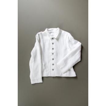 Veste tailleur, lin épais blanc