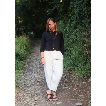 Short cardigan, black cotton knit